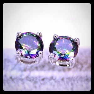 Jewelry - 18K White Gold Mystic Topaz Earrings
